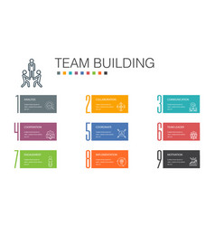 Team building infographic 10 option line concept vector
