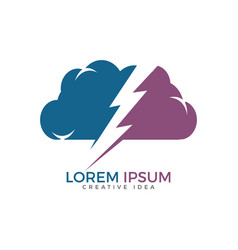 Thunder and cloud logo design vector