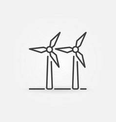 Two wind turbines icon vector