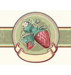 Vintage label with Red strawberries for text vector image