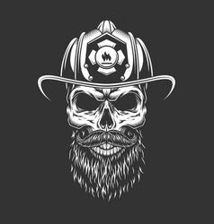 Vintage monochrome firefighter skull in helmet vector