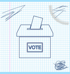 vote box or ballot box with envelope line sketch vector image