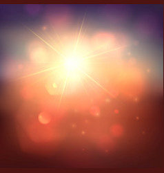 Warm sun and lens flare background vector