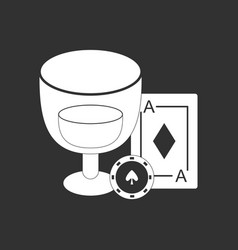 White icon on black background ace chip poker cup vector
