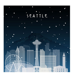 Winter night in seattle night city in flat style vector