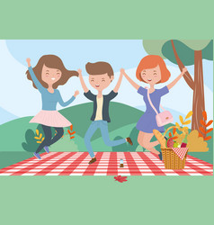 women and man blanket meadow picnic outdoors vector image
