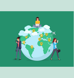 world map people to people connection vector image