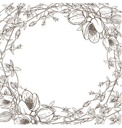 wreath wild herbal flowers hand drawn vector image