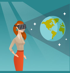 Young woman in vr headset getting in open space vector