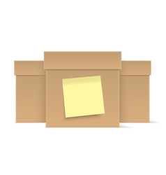 brown cardboard boxes with yellow sticky note vector image
