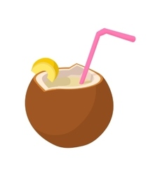 Coconut cocktail icon cartoon style vector image vector image