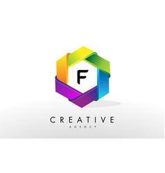f letter logo corporate hexagon design vector image