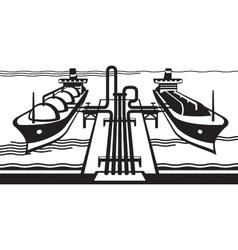 Gas tank terminal with lng cargo ships vector