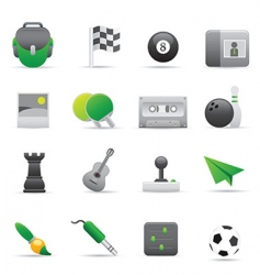 green entertainment icons vector image