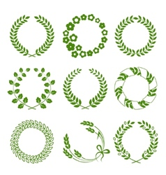 Green wreaths isolated on white background vector image vector image
