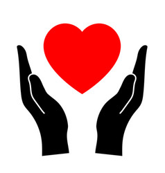 hands that protect the heart vector image vector image