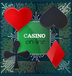 on-line poker banner concept vector image
