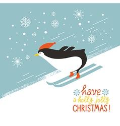 Penguin skiing down a mountain slope vector