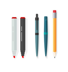 pens pencils markers dot biro pen with vector image vector image