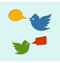 Flying birds with speech bubbles vector image