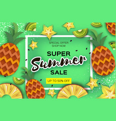 Pineappple carambola kiwi ananas and starfruit vector