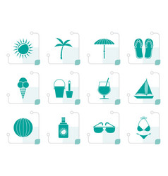 stylized summer holiday and beach objects vector image vector image