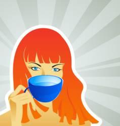 a girl with a mug vector image vector image
