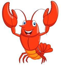 Cartoon lobster waving vector image vector image