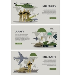 Military Infographic Banner with World Map vector image vector image