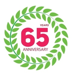 Template Logo 65 Anniversary in Laurel Wreath vector image vector image