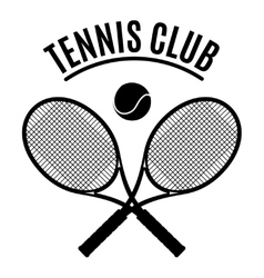 Black and white tennis club emblem vector image vector image