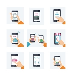 Flat icons set with mobile technology online vector image