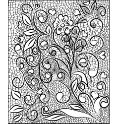 Flower pattern engraving scroll motif for vintage vector image vector image