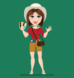Tourist woman traveler holding credit cards and vector