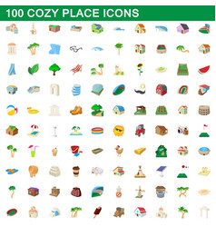 100 cozy place icons set cartoon style vector