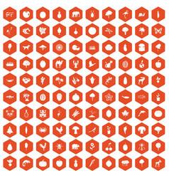 100 live nature icons hexagon orange vector