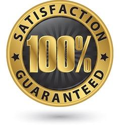 100 percent satisfaction guaranteed golden sign vector image