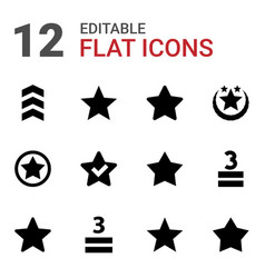 12 rating icons vector image