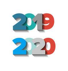 2019-20 year color sign set with shadows vector
