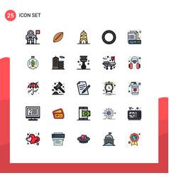 25 universal filled line flat color signs symbols vector