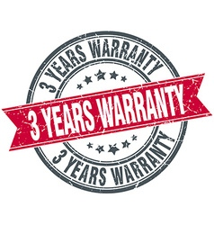 3 years warranty red round grunge vintage ribbon vector