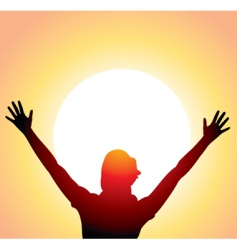 a girl with raised hands vector image vector image