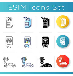 Air conditioning technologies icons set vector