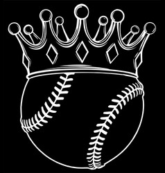 baseball ball in golden royal crown silhouette vector image