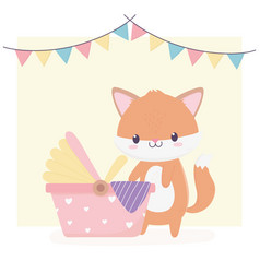 bashower cute little fox and carriage newborn vector image