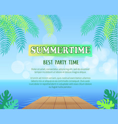 Best summertime party promo poster with palms vector
