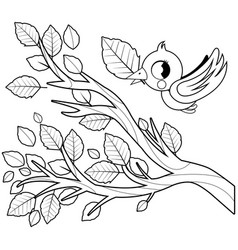 bird flying and tree branch vector image