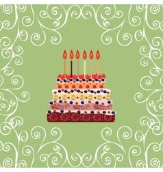 Birthday cake with six candles Six years vector image
