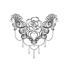 Black and white tattoo lotus vector