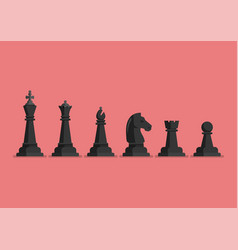 black chess piece icons set vector image